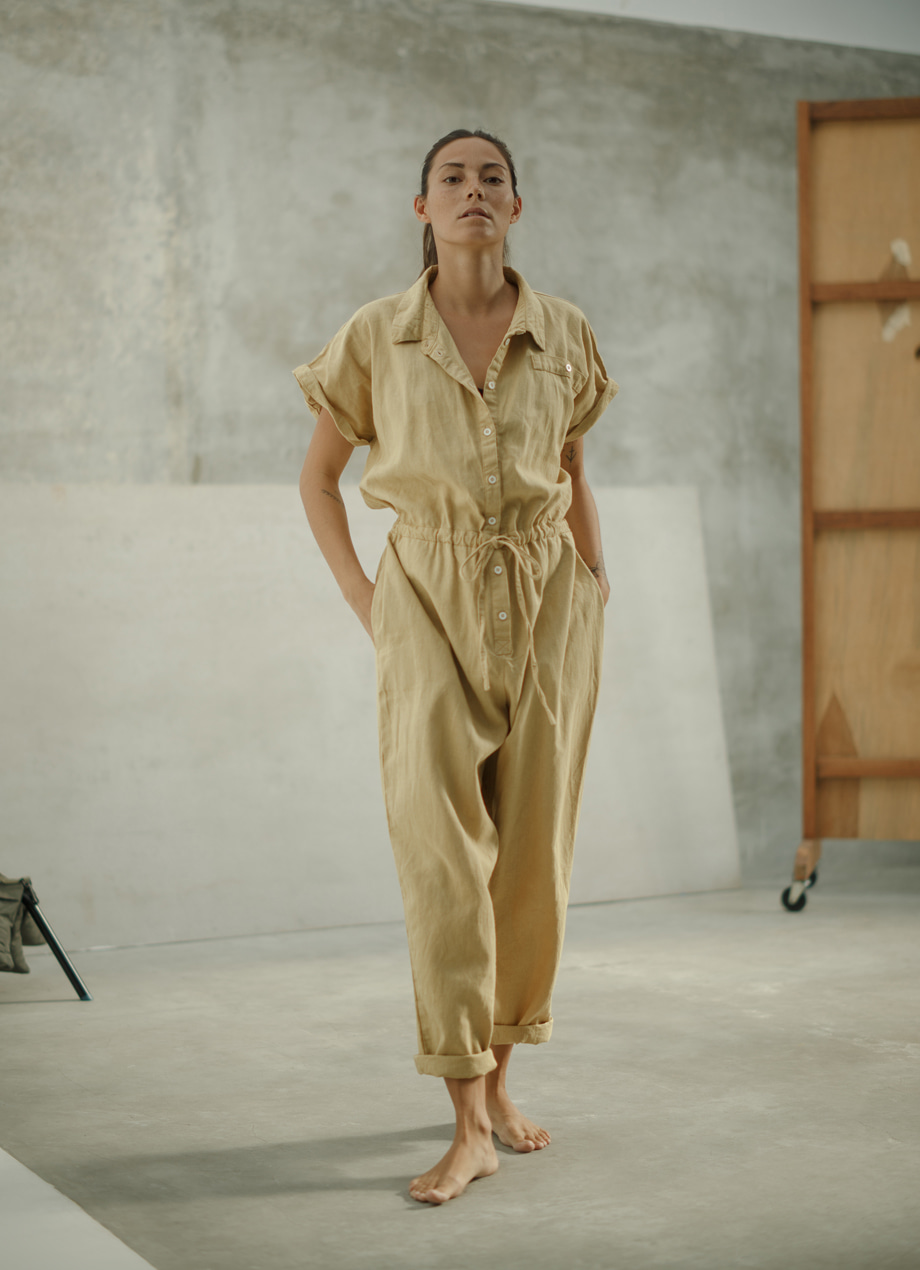 Natural plant-dye linen cotton jumpsuit / LIFESTYLE