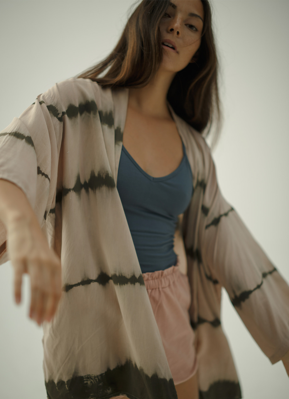 Natural tiedye short cardigan