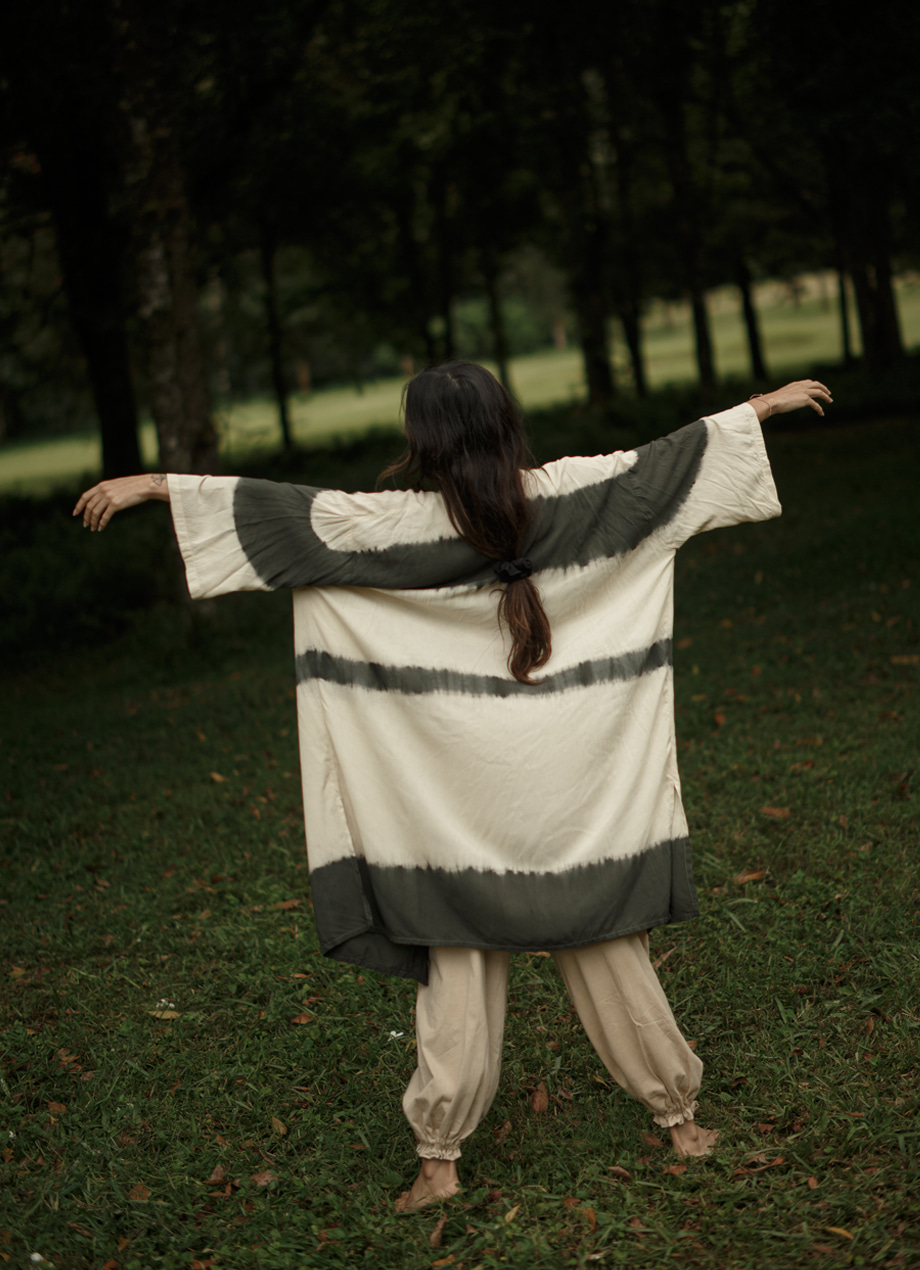 Natural tiedye long robe